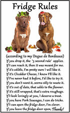 "Dogue de Bordeaux Gift - Large Fridge Rules flexible Magnet 6"" x 4"""