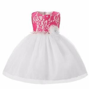 dc4aa6176515 Baby Pretty Pink White Princess Style Party Flower Girl Bridesmaid ...