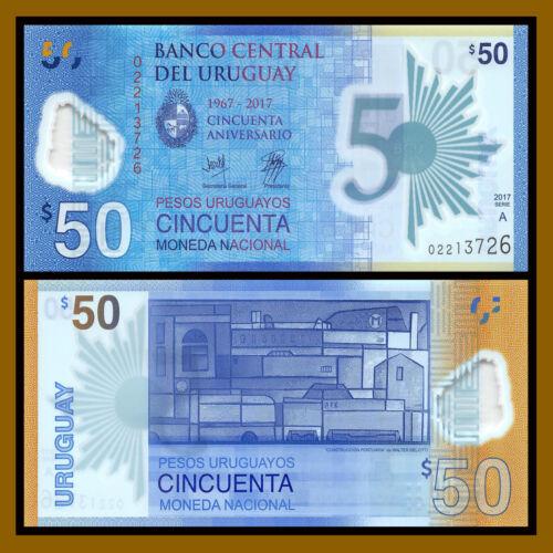 2017 P-New UNC Commemorative Polymer 50 Pesos Uruguayos Uruguay 2018