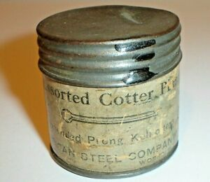 Vintage American Steel Co. Assorted Cotter Pins Tin & Cardboard Advertising Can