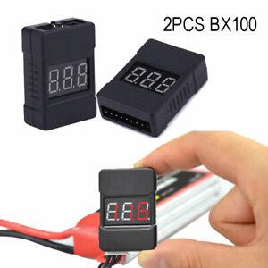 2PCS BX100 Battery Voltage Tester Low Voltage Alarm Buzzer For 1~8S Lipo Battery