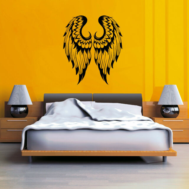 ANGEL WINGS  PAIR GOTHIC vinyl wall art sticker decal