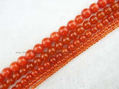Round Smooth Orange Red Jade Loose Beads 15''New