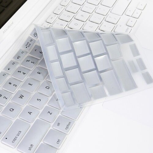 """SILVER Silicone Keyboard Cover for Macbook White 13/"""""""
