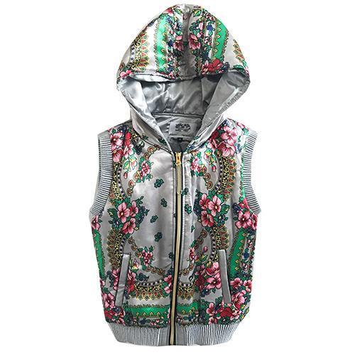 ladies gilet body warmer jacket silver floral Padded Warm Trendy Size 12 NEW