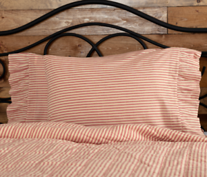 SAWYER-MILL-RED-TICKING-STRIPE-Pillow-Case-Set-Farmhouse-Bedding-VHC-Brands