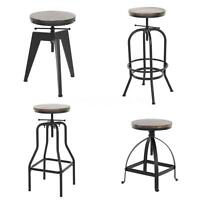 Vintage Bar Stool Industrial Metal Design Wood Top Adjustable Height Swivel M9i3