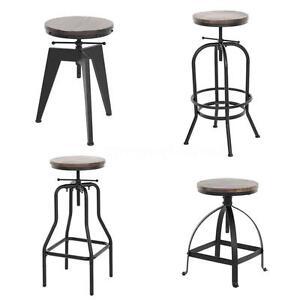 Marvelous Details About Vintage Bar Stool Industrial Metal Design Wood Top Adjustable Height Swivel M9I3 Frankydiablos Diy Chair Ideas Frankydiabloscom