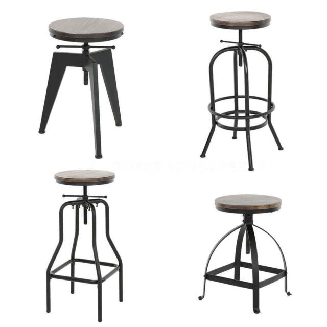 Fantastic Vintage Bar Stool Industrial Metal Design Wood Top Adjustable Height Swivel M9I3 Gmtry Best Dining Table And Chair Ideas Images Gmtryco