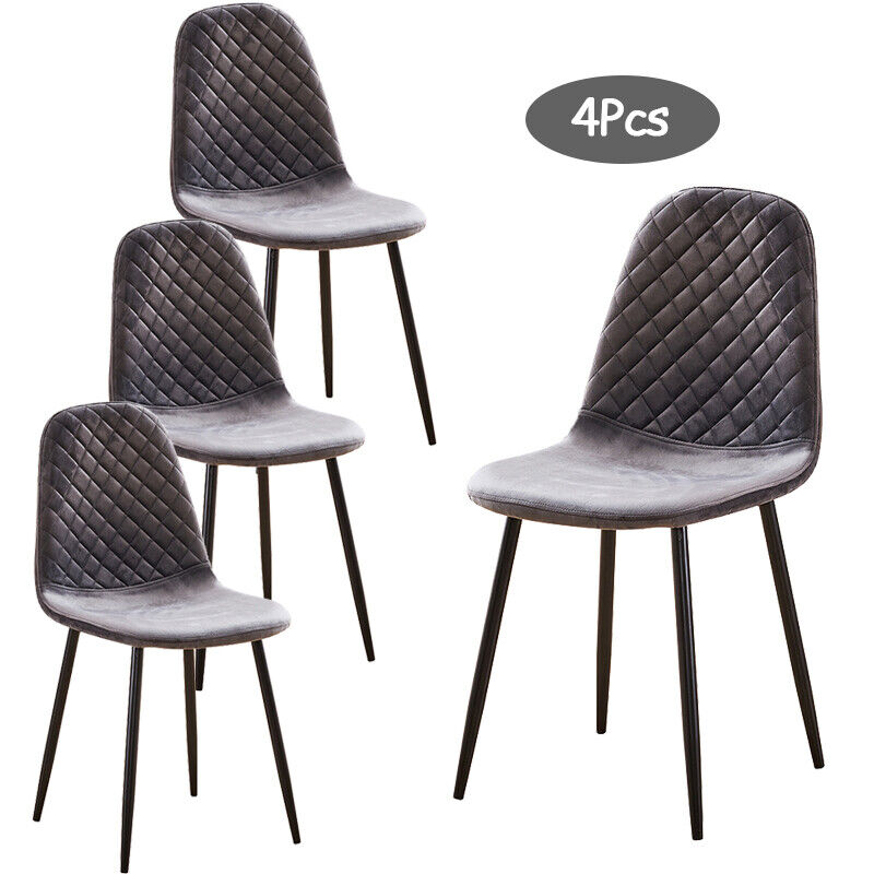 Details about 4Pcs Argyle Velvet Dining Chairs Metal Leg Side Chair Fabric  Upholstered Kitchen
