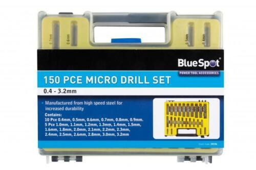 CLEARANCE LOT20336 BlueSpot 150 PCE Micro Jeu de forets 0.4-1.6mm HSS pour métal