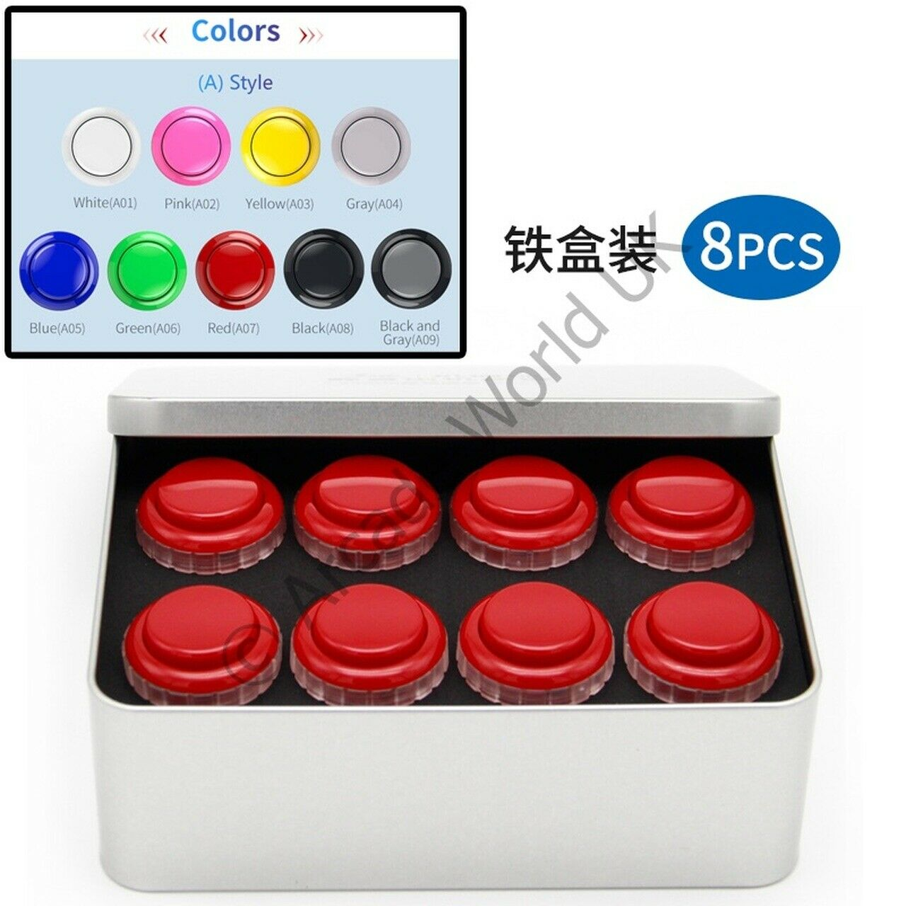 Box Of 8 x QANBA Gravity 30mm Screw In Arcade Buttons - Solid Colours