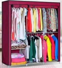 "63"" Oxford Cover Closet Organizer Wardrobe Rack Steel Clothes Hanger Armoires"