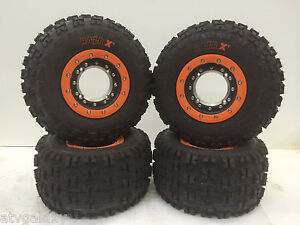Hiper-Tech-3-Beadlock-Wheels-Maxxis-Razr-XC-Tires-Front-Rear-Kit-Honda-TRX-250R