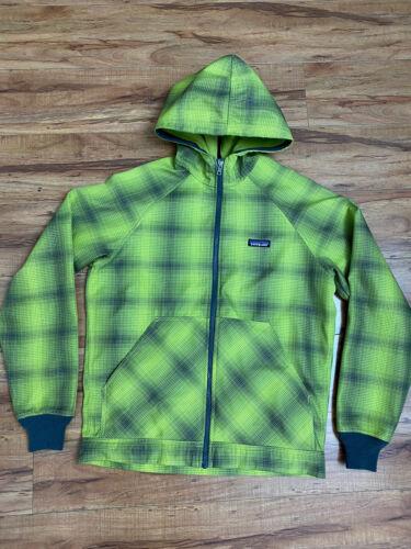 Patagonia Green Black Plaid Fleece Slopestyle Hood