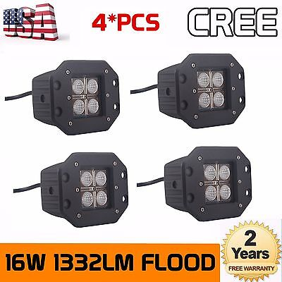 4Pcs 16W Cree Square Flush Mount FLOOD LED Work Light Bumper Off Road Truck 4WD