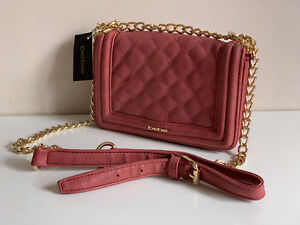 NEW-BEBE-LUCY-MINI-QUILTED-W-GOLD-CHAIN-CROSSBODY-SLING-BAG-89-CRANBERRY-SALE