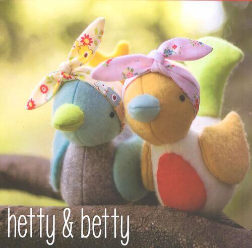 Hetty /& Betty Aves-patrón de Costura Artesanía-patrón de pájaro de fieltro