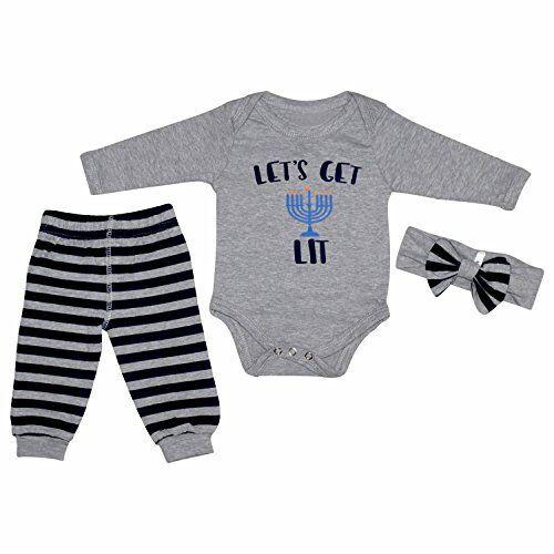 "Baby Girls /""Lets Get Lit/"" Hanukkah Layette Set Headband Outfit Chanukkah Newborn"