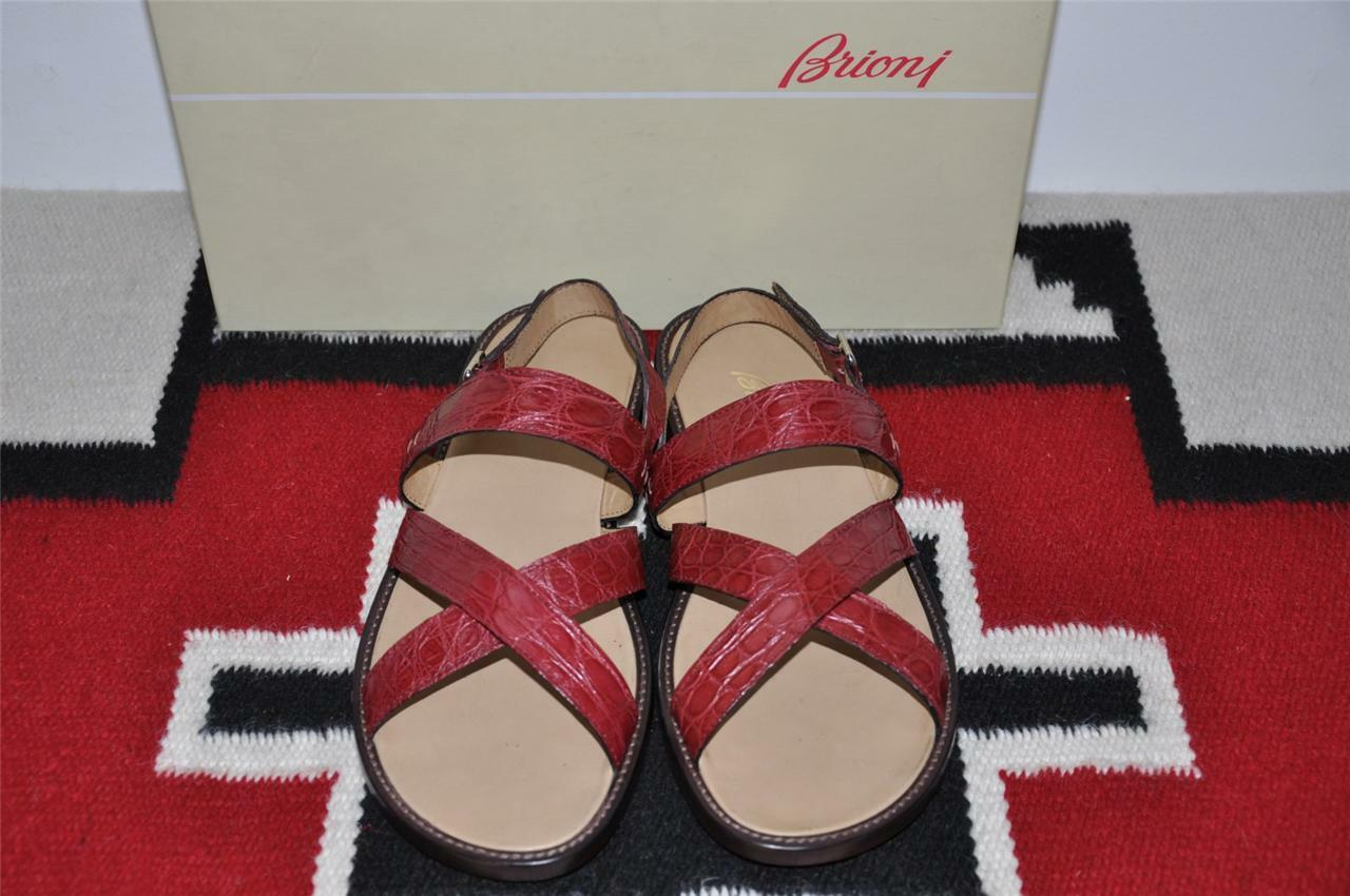 1300 Brioni Hand Made Crocodile Alligator Leather Sandals shoes 11.5