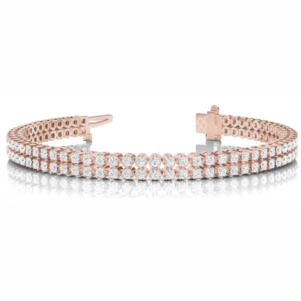 3.64 Carat SI1 White Round Diamond Bracelet In Line Prong Set 14k pink gold
