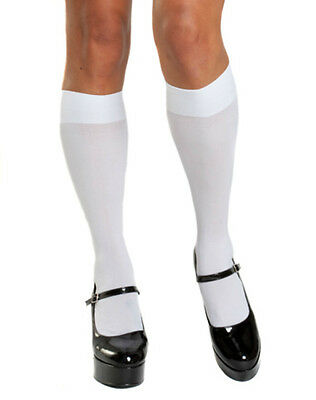 Sexy Lingerie White Knee Highs Stockings Costume NWT Halloween School Girl