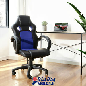 Gaming Racing Leather Office Chair Swivel Ergonomic Computer Desk Seat Blk/Blue
