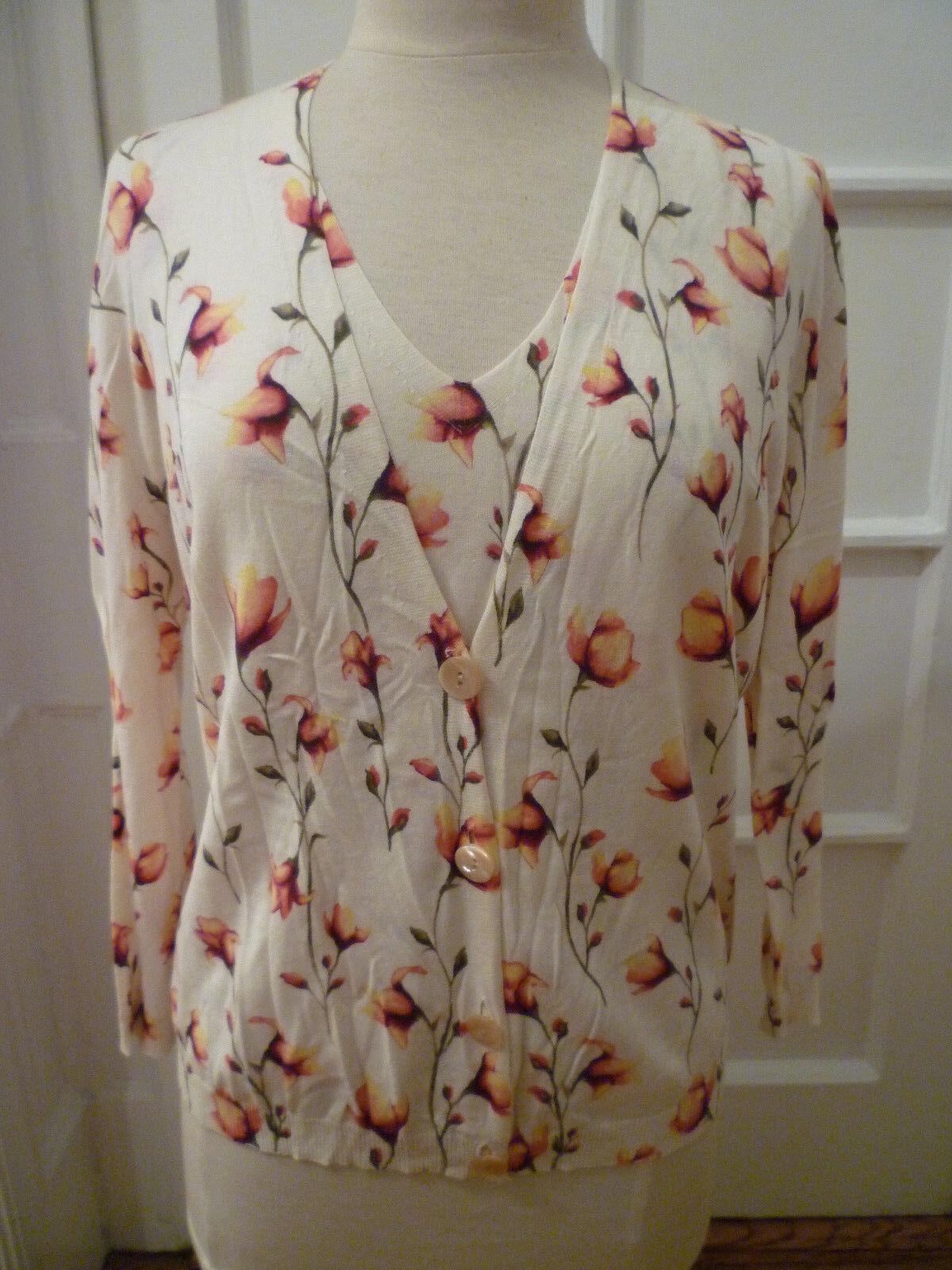 SAKS FIFTH AVENUE CLASSIC Floral Print Twin Set, Medium Shell XL Cardigan
