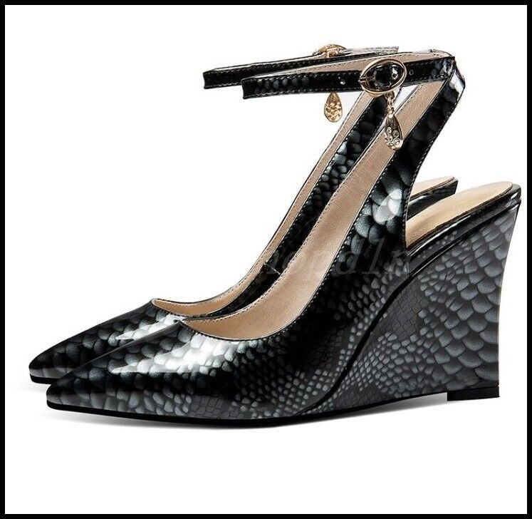 New Women Women Women Pointy Toe Sandal Pumps High Wedge Heel Slingback Ankle Strap OL shoes 1da7e2