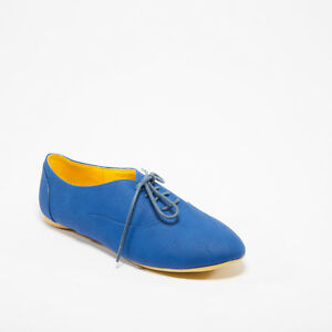 26181564ac121 Details about Royal Blue Crinkle Lace Up Flat Women Oxford Shoes Kiss &  Tell Keisha-05