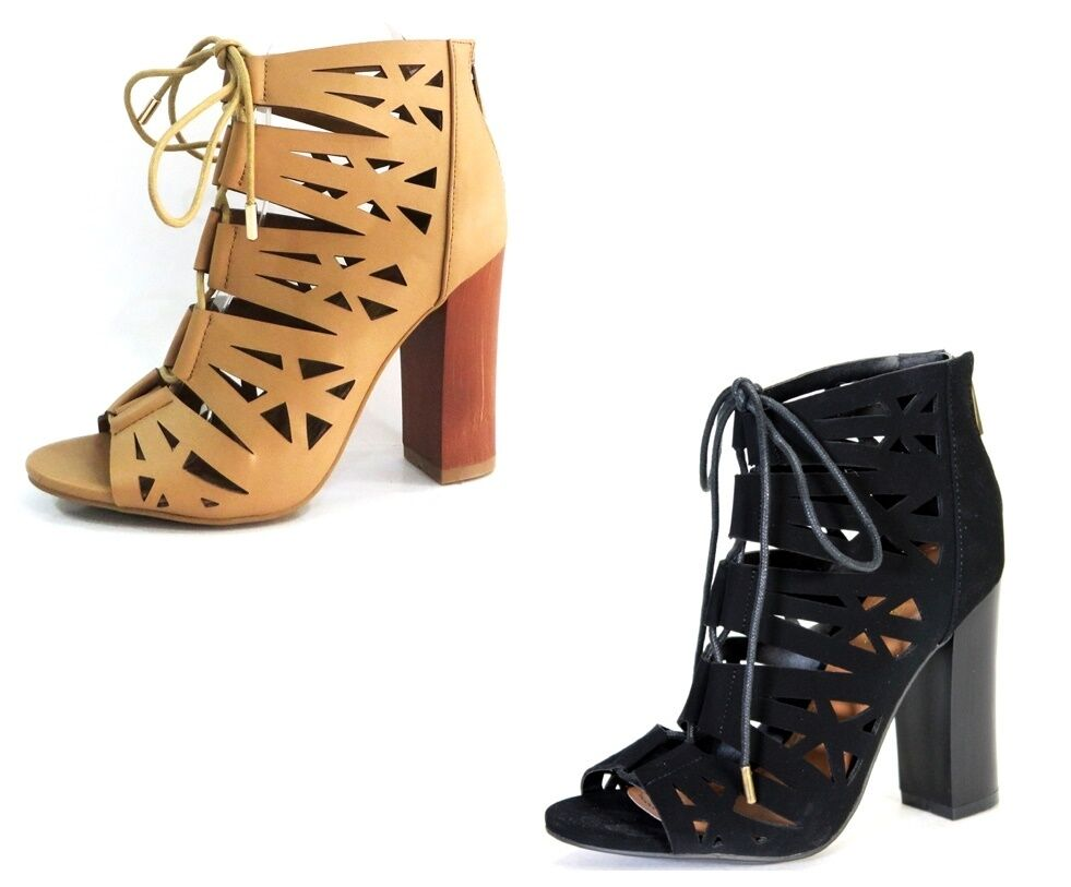 Bamboo Cut Out Strap Lace Zip Back Ankle Boot Heels  EMBARK-35
