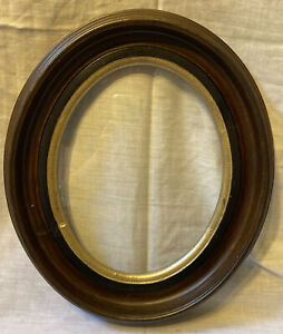Antique Victorian Wood Oval Deep Well Picture Frame Gilded East Lake Style Glass