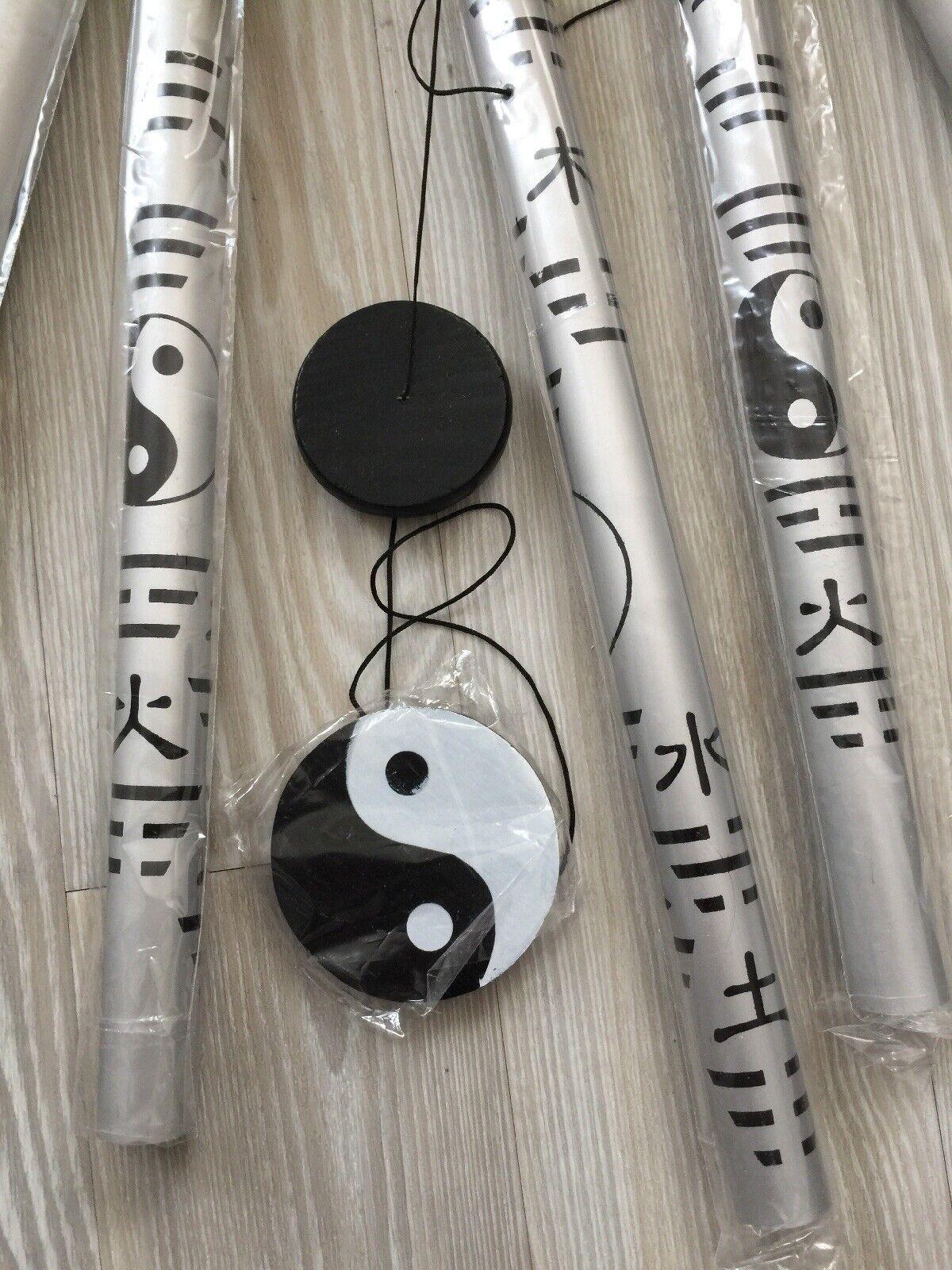 """Vintage Fengshui YING YANG Metal/wood Wind Chimes 33""""(84cm)/ New"""