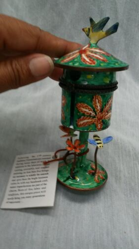 Nice Kevin Chen green orange enamel birdhouse miniature