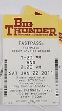 Disney FASTPASS Walt Disney World Fast Pass Ticket BIG THUNDER MOUNTAIN 1:20