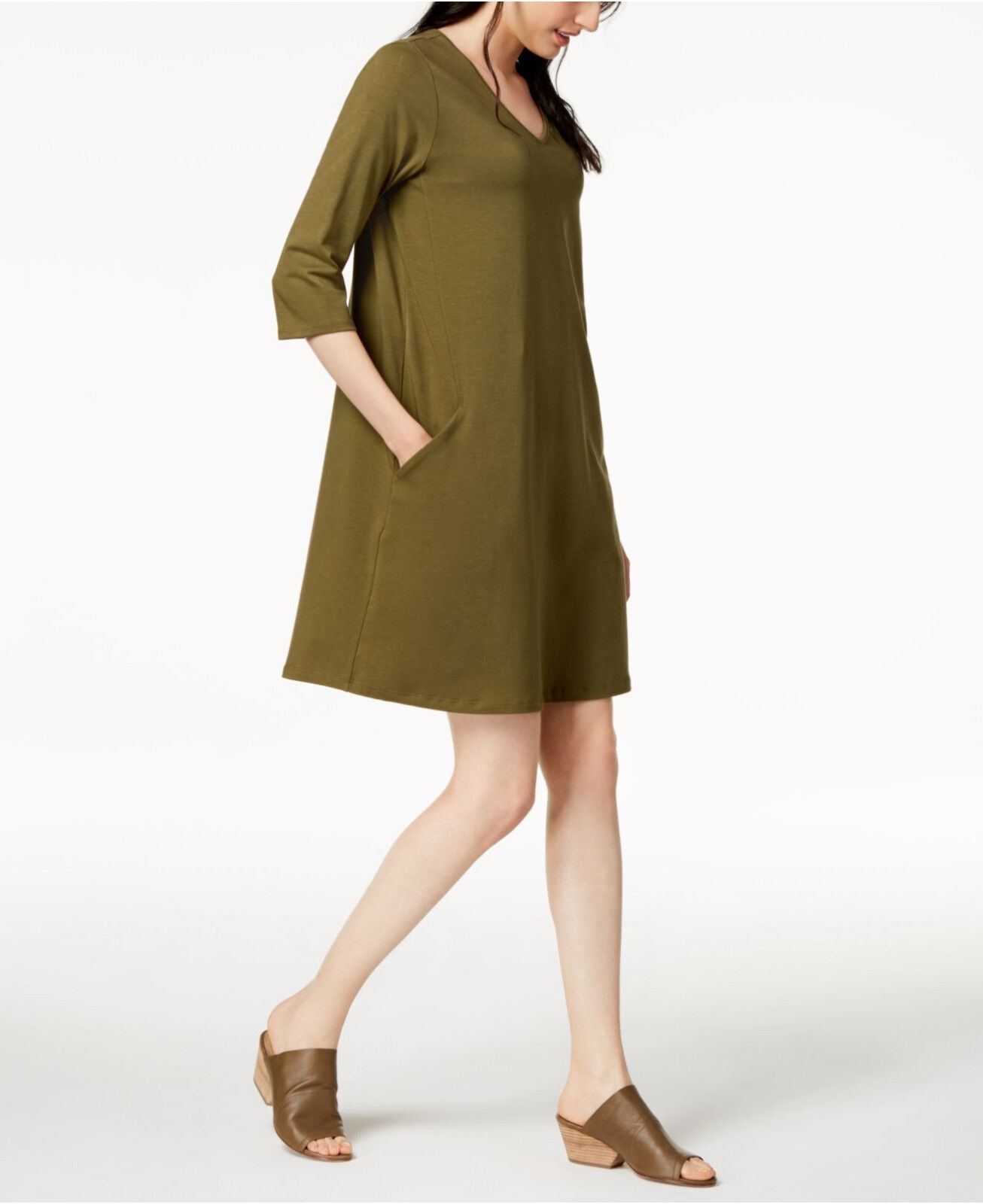 Eileen Fisher Olive  V-Neck 3 4 Sleeve A-Line Dress XXS