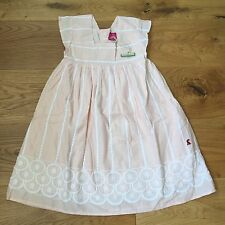 GIRLS JOULES SUMMER PEACH EMBROIDERED FULLY LINED DRESS 3 4 5 YRS UNWANTED GIFT