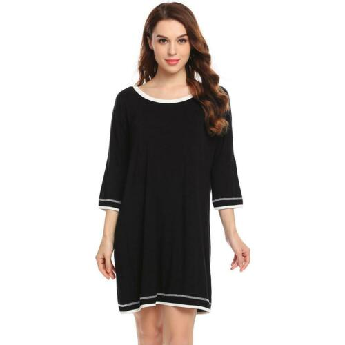 Details about  /Women Nightshirt O-Neck Patchwork Nightgown 3//4 Sleeve Sleep Dress H1PS 03