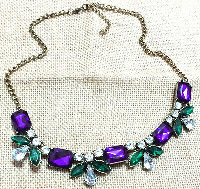 New Fashion Party Colorful Resin Rhinestone Flower Choker Statement Bib Necklace