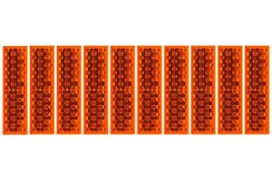 10-x-Reflektor-63-x-18-x-5-2mm-ORANGE-ECKIG-Rueckstrahler-Selbstklebend-Anhaenger