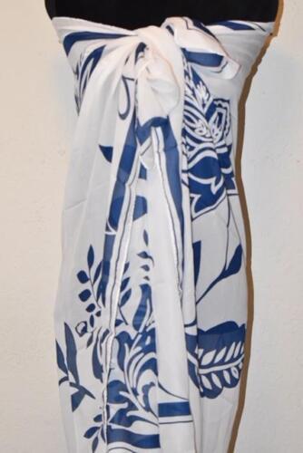 Women Swimsuit Scarf Chiffon Beach Sarong Pareo Wrap Tunic Towel Blue Paisley