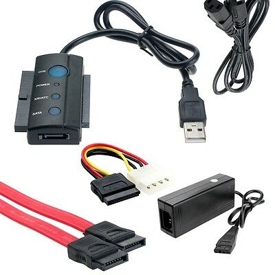 "USB to 2.5"" 3.5"" SATA IDE Hard Driver Disk PC HDD Adapter Converter Cable Set"