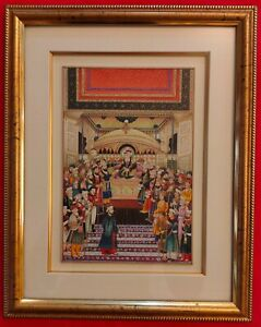 Hand-Painted-Mughal-Court-Scene-Miniature-Painting-India-Art-Maharajah-Framed