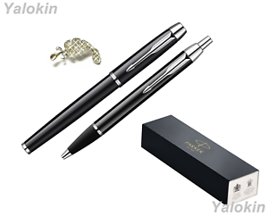 Black with Chrome Trim Finish Luxury Gift Set IM Ballpoint & IM Rollerball Pens