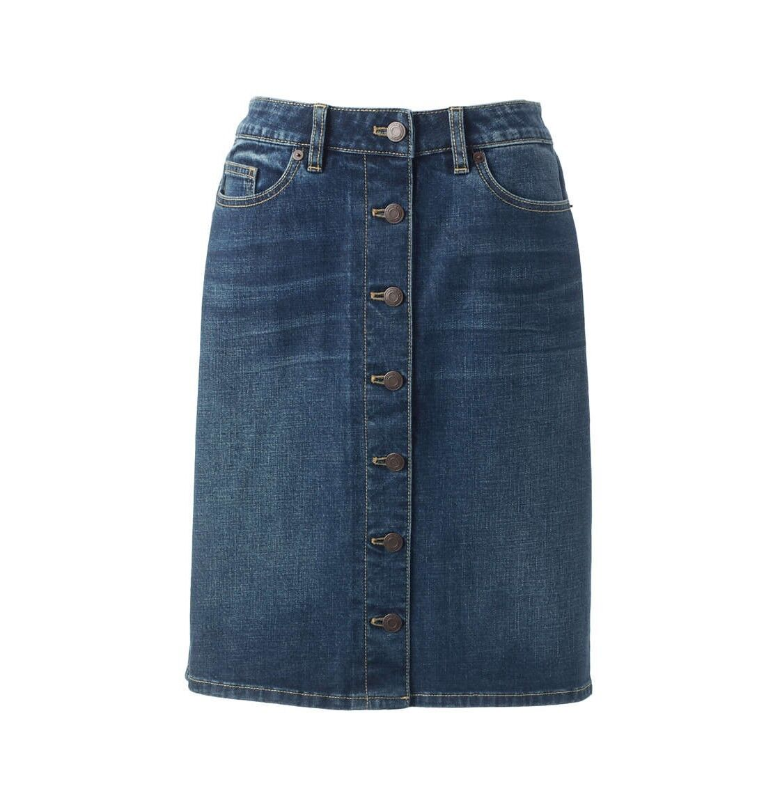 LANDS' END Plus Size 22W, 26W Button Front Weathered Indigo Denim Skirt NWT