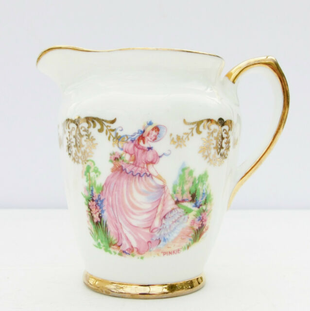 Vintage 1960s Lubern Bone China Pinkie Crinoline Lady Milk Jug