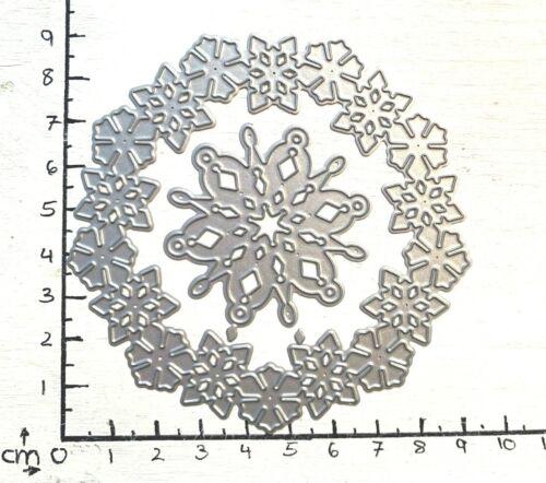 Stanzschablone Cutting dies Schneeflocken Kranz Eisblumen Eiskristalle D.9cm,