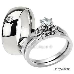 HIS-HERS-3-PIECE-MEN-039-S-WOMEN-039-S-STAINLESS-STEEL-WEDDING-ENGAGEMENT-RING-BAND-SET