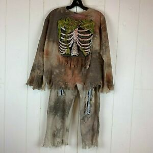 Halloween-Costume-Zombie-Outfit-3-D-Bones-Shirt-Pants-Youth-Boys-Large-L-12-14