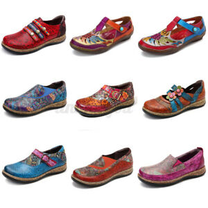 SOCOFY-Women-Floral-Genuine-Leather-Shoes-Stitching-Hook-Loops-Splicing